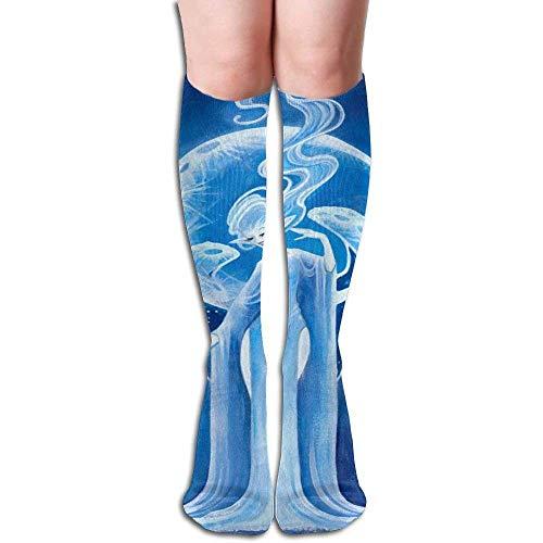 hgfyef Unisex Blue Beauty Elves Design Elastic Long Socks Compression Knee High Socks (50cm) For Sports, Running, Travel