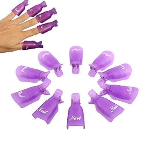 Malloom 10PC plastica Arte del chiodo impregna Fuori cap Clip Polacco UV del Gel di rimozione Wrap