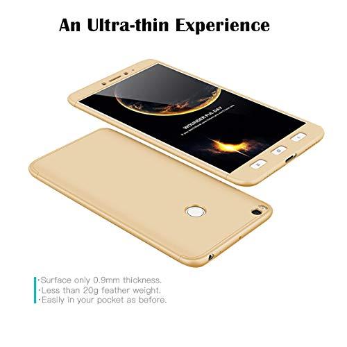 xinyunew Hülle kompatibel mit Xiaomi Mi MAX 2+Panzerglas Schutzfolie,Superleichte Superdünne 3 in 1 PC Schutzhülle Etui Stoßfeste Kratzfeste Handyhülle mit 360 Grad R&umschutz Gold