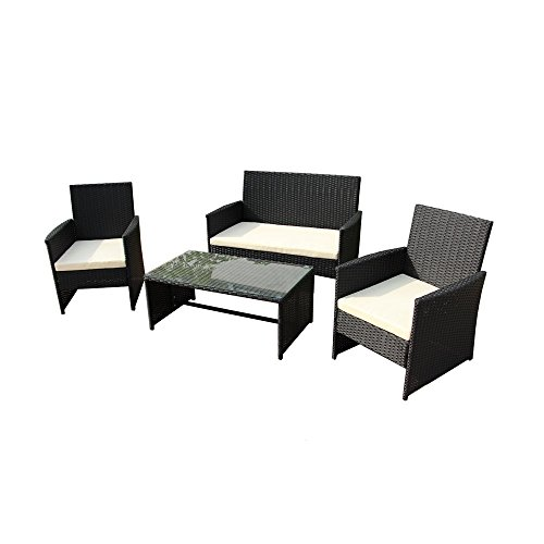 ALEKO RTCRM07BLK Seattle 4 Piece Polyethylene Wicker Rattan Outdoor Patio Deck Furniture Set Coffee Table Love Seat with Cushions Black and Cream