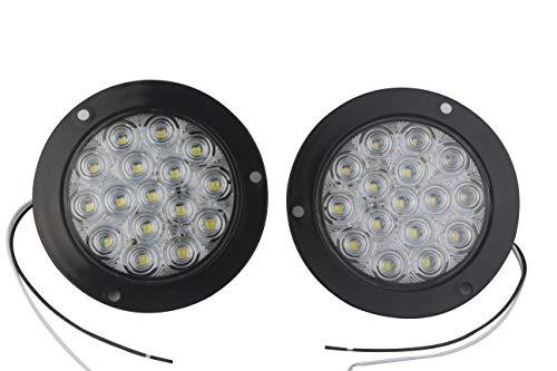 HEHEMM Lot de 2 feux arrière de voiture ronds 16 LED 10,2 cm (blanc, 24 V)