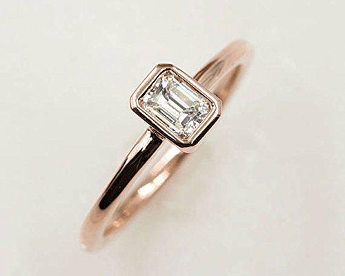 Amazon Com Diamond Solitaire Ring 0 30 Ct Emerald Cut Diamond Engagement Ring Minimalist Emerald Ring 14k Rose Gold High Quality Diamond Bridal Ring Handmade