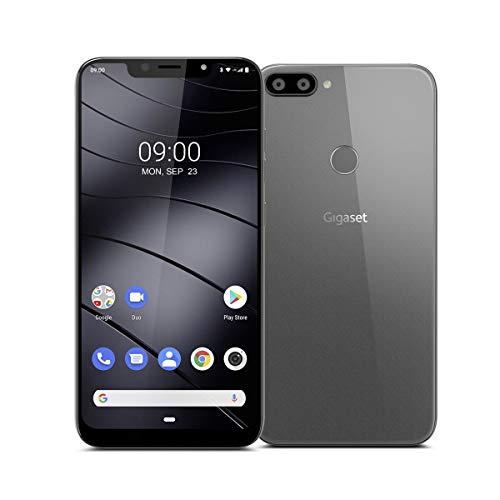 """Gigaset GS195 Smartphone ohne Vertrag mit 3GB Arbeitsspeicher Made in Germany - Handy mit 6,18"""" V-Notch Display, Gesichtserkennung, Dual-SIM, 32GB Speicher, 4000 mAh Akku, Titanium Grey"""