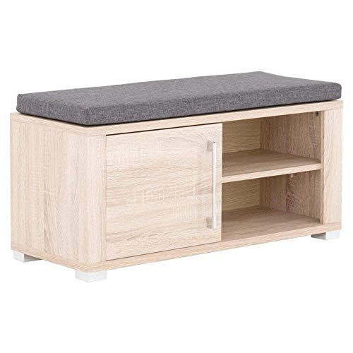 GO Schuhbank mit Sitzfläche in heller Sonoma Eiche Optik - bequeme Sitzbank mit Stauraum für Ihren Flur - 90 x 44 x 36 cm (B/H/T)