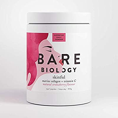 Bare Biology Skinful Marine Collagen Powder with Vitamin C, Strawberry Flavour, 300g/60 Servings - Pure, Sustainable, Marine Collagen Peptides & Natural Vitamin C for Skin, Hair, Bones & Joints