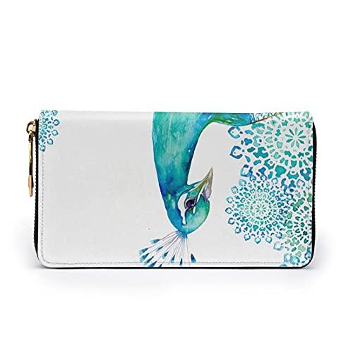 Hermoso pavo real y floral impreso de cuero monedero de las mujeres Zip monedero embrague bolsa de viaje tarjeta de crédito titular monedero, Black, Talla única,