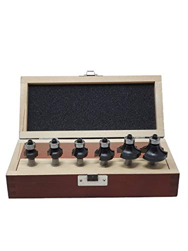 jjw-germany 6-teiliges HW HM Abrundfräser Oberfräser Set in Holzkassette R2 / R3 / R4 / R6 / R8 und Radius 10mm