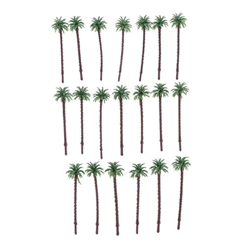 dailymall 20pcs HO O N Z Scale Model Palm Trees, Model Train Diorama Supplies, 2.2 inch to 5.1 inch Height - 5.5cm