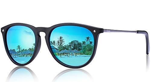 Carfia Vintage Polarisierte Sonnenbrille/Blaulichtfilter Brille für Damen Herren UV400 Schutz Ultraleicht Rahmen