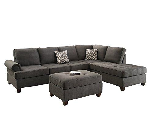 Poundex W 3 PCS-Sectional Sofa Set with Ottoman, Ash Grey
