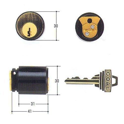 GOAL(ゴール) ピンシリンダー 装飾錠パルテノン用 PSタイプ 大カム仕様 GCY-66 キー標準3本付属 玄関 鍵 交換 取替え パルテノン PS GCY66金古美色