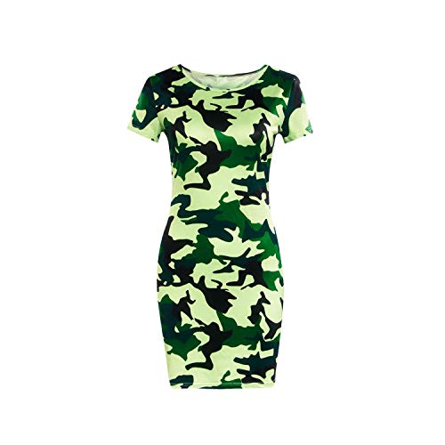 UELNCFL 2018 Vrouwen Jurk O Nek Mouwloos Cartoon Print Camouflage Kleur Elegante Sexy Dames Jurken