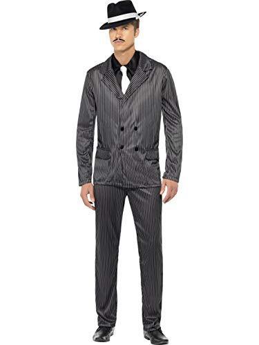 Luxuspiraten - Herren Männer Nadelstreifen Anzug Gangster Kostüm im 20er Jahre Al Capone Stil mit Jacket, Hose, Hemdfront und Schlips, perfekt für Karneval, Fasching und Fastnacht, L, Schwarz