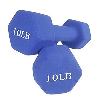 YuniMuse Dumbbells Set of 2 Exact Weights 2/3/4/5/8/10lb Neoprene Coated Dumbbell Set Matte Non-Slip Surface Hex Shape Colorful Exercise & Fitness Dumbbells  10lb Blue Set of 2