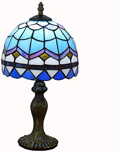 W&HH Lámpara de mesita de Noche de 8 Pulgadas Estilo Tiffany Estilo Mesas de Noche Lámpara de Mesa de Escritorio Lámpara de decoración con Base de aleación de Zinc, Interruptor en línea,Azul