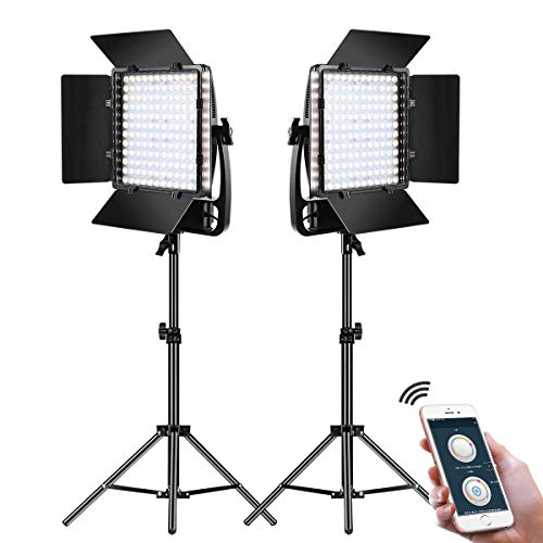 GVM LED Video Light Panel,Video Lighting Kit with Tripods and U Bracket,50W Dimmable Bi-Color Optical Lens 3X Ultra Bright,APP Control+Diffuser,Professional Light Panel for Studio Shoot (2 Pack)