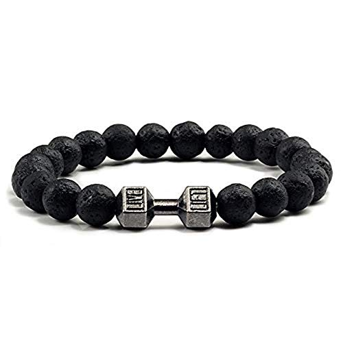 HNOGRG Stein Armband Natürliche Schwarze Lava Vulkanstein Fitness Hantel Armbänder für Frauen Männer Barbell Schmuck