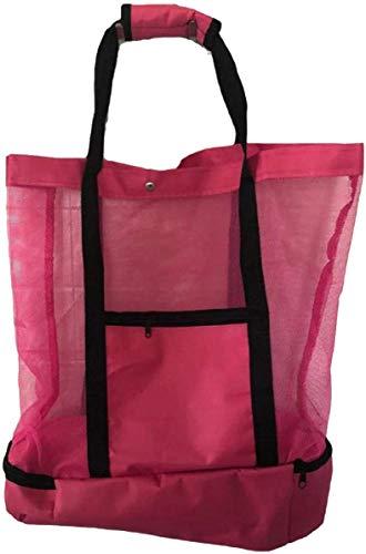 Bolsa de playa de malla para exteriores con compartimento más fresco, bolsa de picnic aislada desmontable con cremallera y bolsa de piscina con bolsillo para mujer (Rojo)