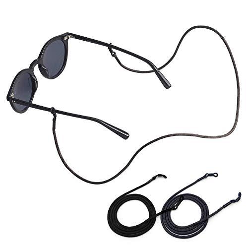 KNOK Brillenband [2 Stück] Brillenkette Band für Sonnenbrillen & Lesebrillen - Brillenhalter Brillenschnur Brillenbänder Brillenketten für Herren, Damen - Kette für Brille zum umhängen(Schwarz, Olive)