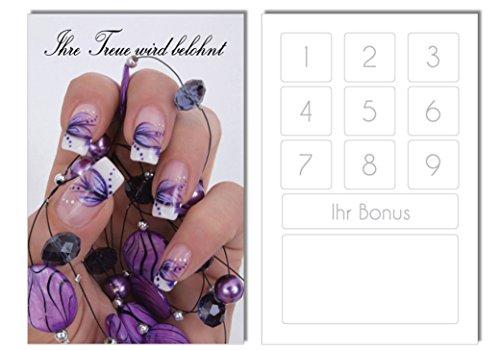 100 Bonuskarten / Treuekarten Nailart Lila Nails Nagelstudio