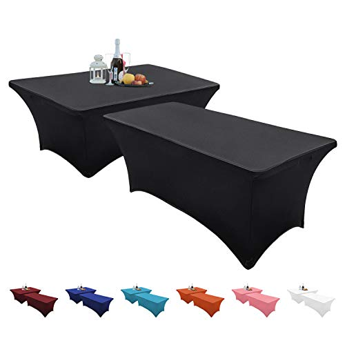 Set of 2 – Spandex Table Cover – Rectangular 6 Feet – Stretchable and Wrinkle Free – Elegant Look – Multi-Occasional Table Cloth – Kitchen Table, Dessert Table, Buffet Table (Black)