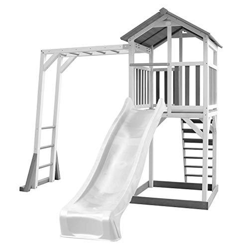 AXI Beach Tower Speeltoren met Klimrek Grijs/wit - Witte Glijbaan - FSC Hout - 10 jaar Garantie! (Grijs, wit, wit)