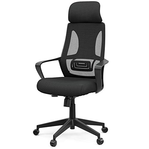 Mecor High-Back Home Office Chair Ergonomic Desk Chair Mesh Computer Chair Modern Design Executive Chair with Lumbar Support Armrest Rolling Swivel Height Adjustable(Black)