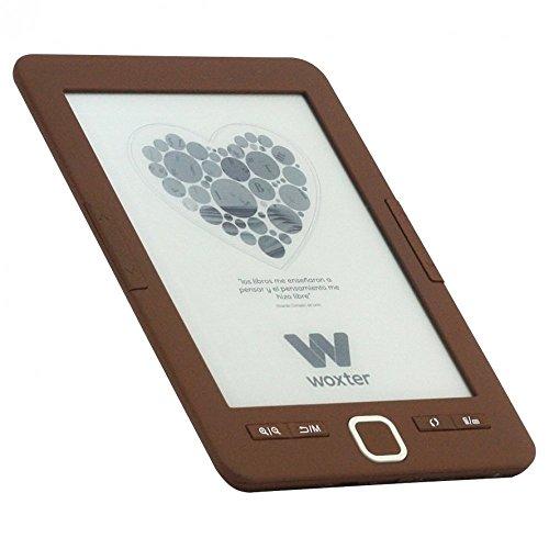 """Woxter Scriba 195 - Lector de libros electrónicos de 6"""" (800 x 600, e-ink pearl pantalla más blanca, EPUB, PDF, micro SD, guarda más de 4000 libros, textura engomada) color chocolate"""