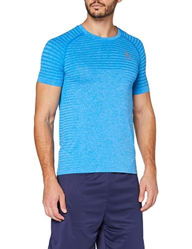 Odlo s/s Crew Neck Seamless Element T-Shirt Homme, Blue Aster Melange, XL