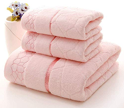 JWCN Juego de toallas de baño 100% algodón con textura de tela de lujo, colores sólidos, supersuave, altamente absorbente, para baño, spa, hotel, 3 piezas, color rosa