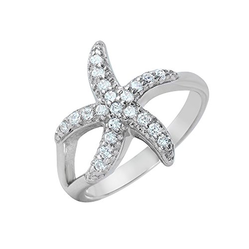 CloseoutWarehouse Clear Pave Set Cubic Zirconia Skinny Starfish Ring Rhodium Plated Sterling Silver Size 8