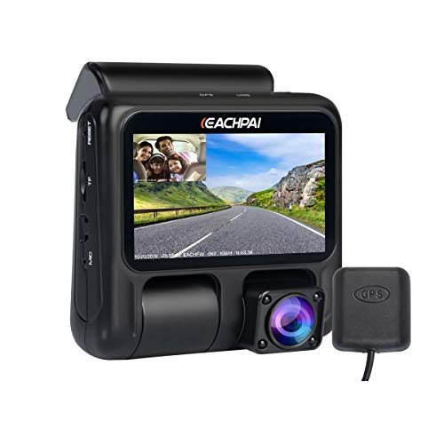 EACHPAI X100 Pro Dual Lente Cámara de Coche Grabadora, Compacto Full HD 1080p Dashcam mit Doble Camera, GPS Cámara de Coche con Vision Nocturne,Super Condensador