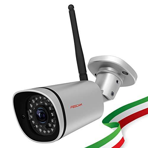 Foscam FI9900P Telecamera IP Wireless 1080P Full HD Esterno Visione Notturna Rilevatore Movimenti Notifiche Push e Avvisi e-mail/FTP Argento [VERSIONE ITALIANA]