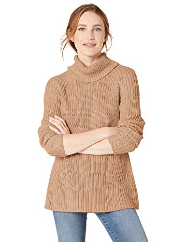 Goodthreads Cotton Half Stitch Turtleneck Sweater cardigan-sweaters, Camel Heather, M