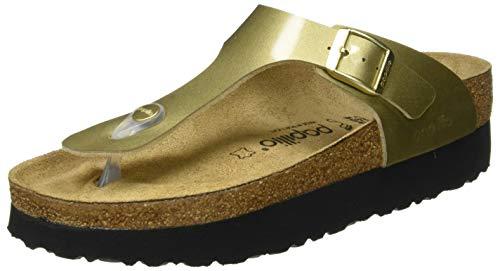 Papillio Damen Tongs Gizeh Birko-Flor Platform Metallic Gold Sandale, 38 EU