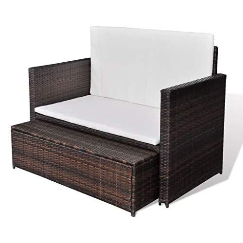 3 in1 Poly Rattan Braun Lounge Gartensofa Gartengarnitur, Rattan-Lounge, Indoor & Outdoor, 2er Garten-Sofa inkl. Kissen & Auflagen,Sofa-Set Garnitur Gartenmöbel Couch-Set - 6