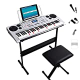 JMFinger 61 Keys Electronic Keyboards Portable Piano Keyboard for Beginners Set with Full Size Lighted Keys, Built-In Speakers, Microphone, OTG Cable, Music Stand, Keyboard Stand and Bench, Silver