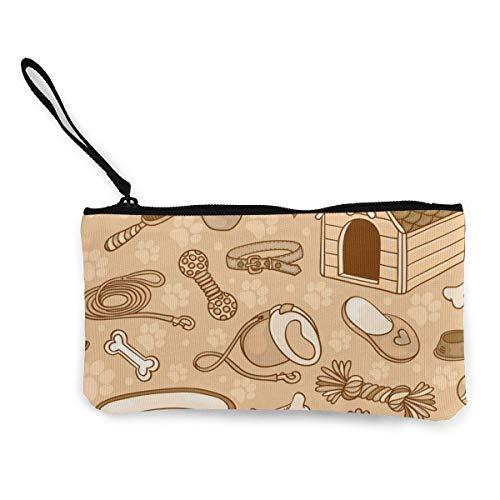 Patrn sin costuras con accesorios para perros de lona marrn monedero bolso cremallera pequeas carteras femenino porttil de gran capacidad personalizado