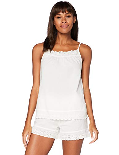 Iris & Lilly Pijama de Satén Mujer, Blanco (Blanco), S, Label: S