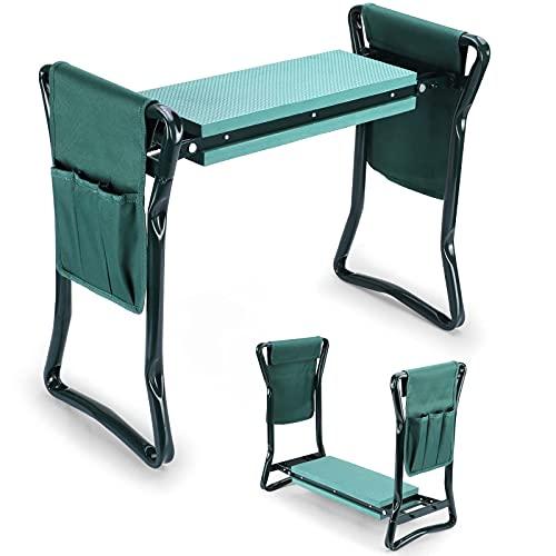 Rayisin Sgabello da giardino per lavori di giardinaggio, sedia al ginocchio, sgabello da giardino, pieghevole, con morbido cuscino per ginocchia, supporto per ginocchia, fino a 150 kg