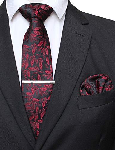 JEMYGINS Rot Blattmuster Seide Krawatte für Herren und Einstecktuch krawattenklammer Sets(5)