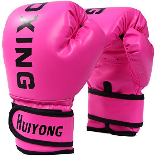 HUINING Guantes de boxeo para niños,guantes de artes marciales mixtas, guantes de entrenamiento de PU de dibujos animados, 6 onzas, para edades de 5 a 12 años (rosa de boxeo)