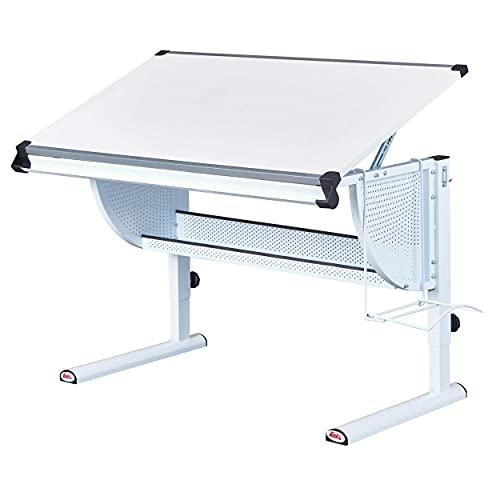 Inter Link Ergonomischer Kinderschreibtisch in 3 Farben Höhenverstellbar Neigbare Tischplatte MDF weiß Kinderzimmer Jugendzimmer