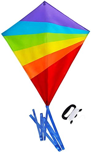 Sun Kites Diamond Kite for Children and Adults - Bright Rainbow Colours - Great Outdoor Toy for Beginners - Very Easy to Fly - Makes a Great Gift