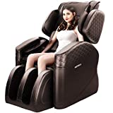 KASPURO Massage Chair, Zero Gravity Full Body Airbags Shiatsu Massage Recliner with Waist Heating, Hip Vibration and Foot Roller (Brown)