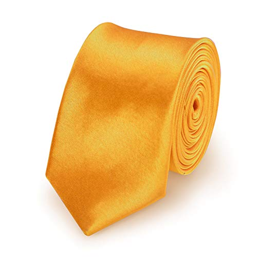 StickandShine Krawatte Gelb slim aus Polyester einfarbig uni schmale 5 cm
