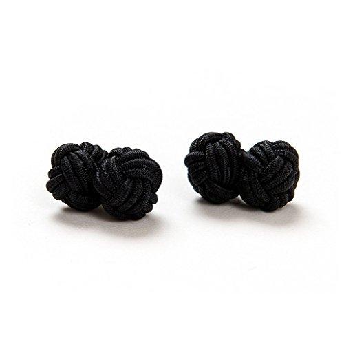 1 Paar Manschettenknöpfe Seidenknoten Knoten Knötchen schwarz einfarbig hochwertig Stoffknoten Cufflinks Gentleman Umschlagmanschette Manschette dehnbar London Style