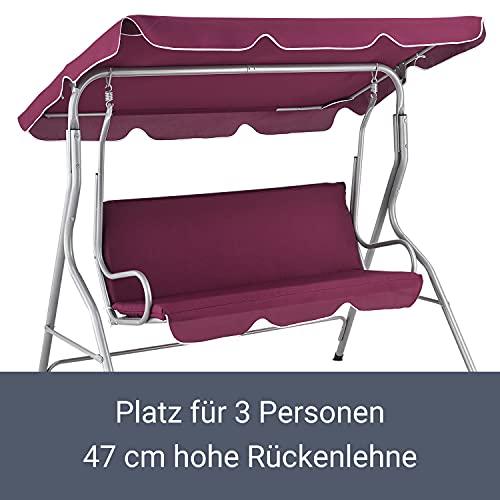 ArtLife Hollywoodschaukel 3-Sitzer mit Dach & Sitzauflage – Gartenschaukel 200 kg belastbar – Schaukelbank für Garten & Terrasse – rot - 5