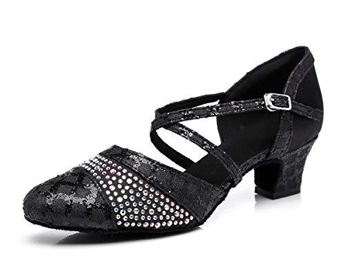 MINITOO Damen Latein Salsa Designer Ankel Strap Schwarz Tanzschuhe Party Schuhe EU 41