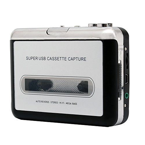 ETvalley Portable Cassette Player Cassette Tape Converter MP3 Player Tape Tape-to-Digital Converter, Converts Tape Format to MP3 Format